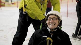 92-year-old man lives boyhood dream, goes skiing for the first time