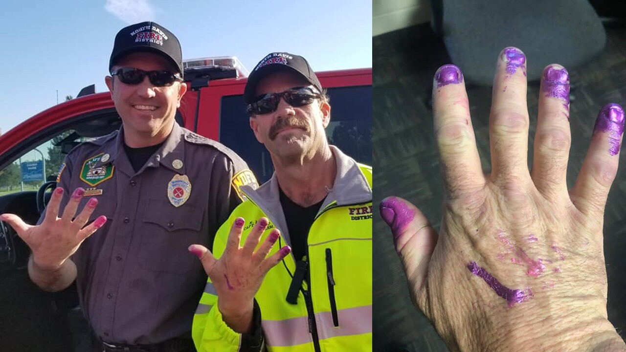North Davis firefighters calm girl's nerves after car crash by letting her paint their nails