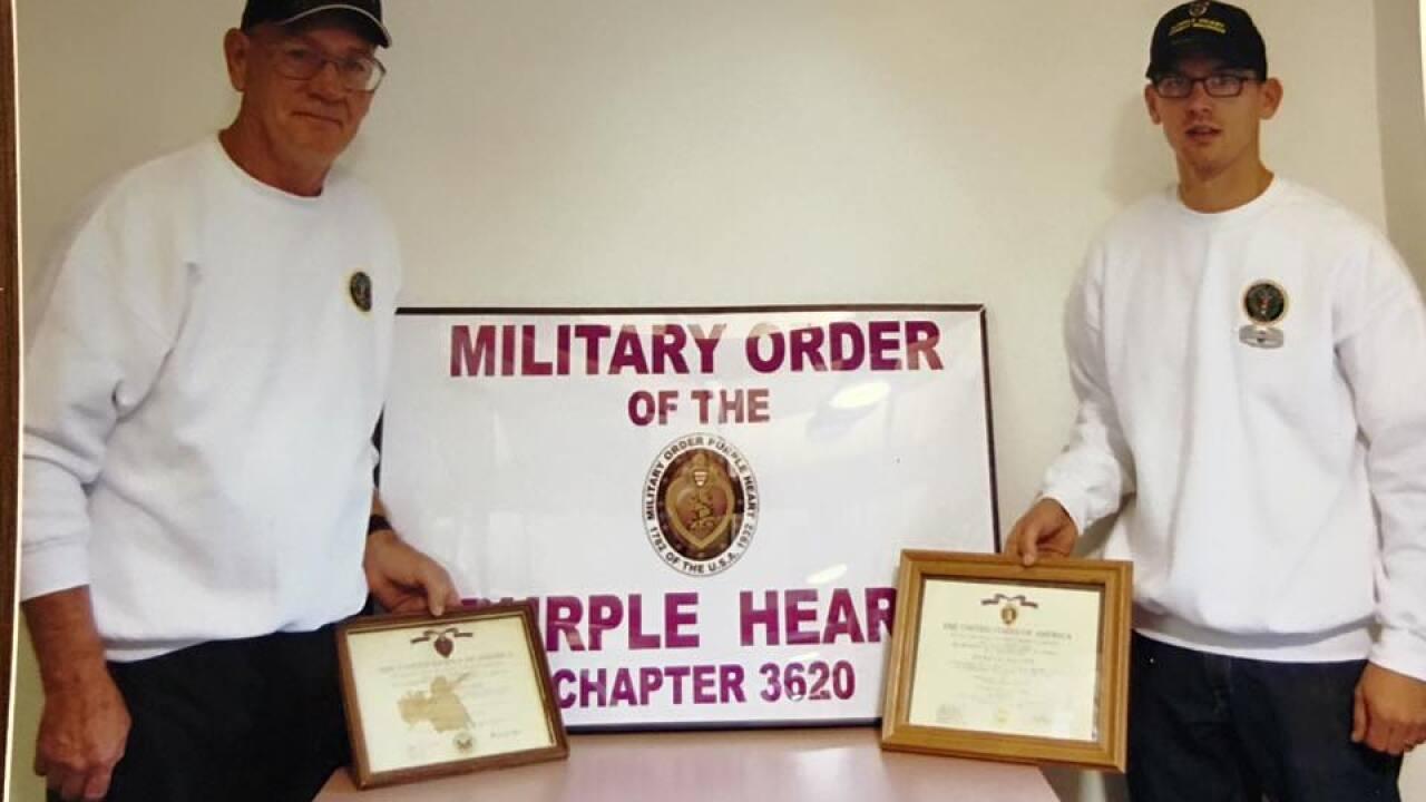 Dave Callahan and his son, Casey, both purple heart recipients