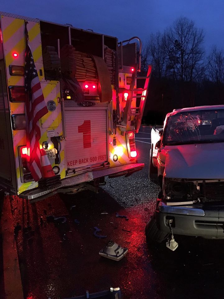 Photos: Driver injured after pickup crashes into Henrico firetruck working I-295 crash