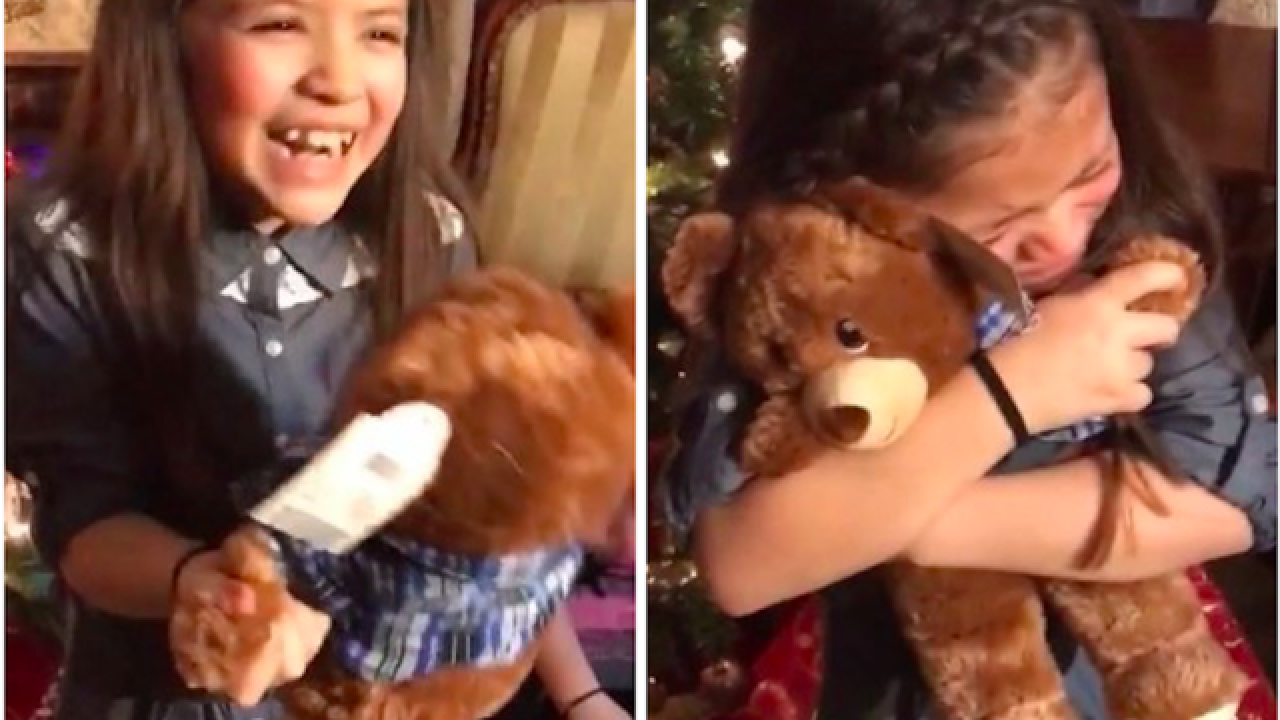 Girls overwhelmed when teddy bears have late grandpa's voice