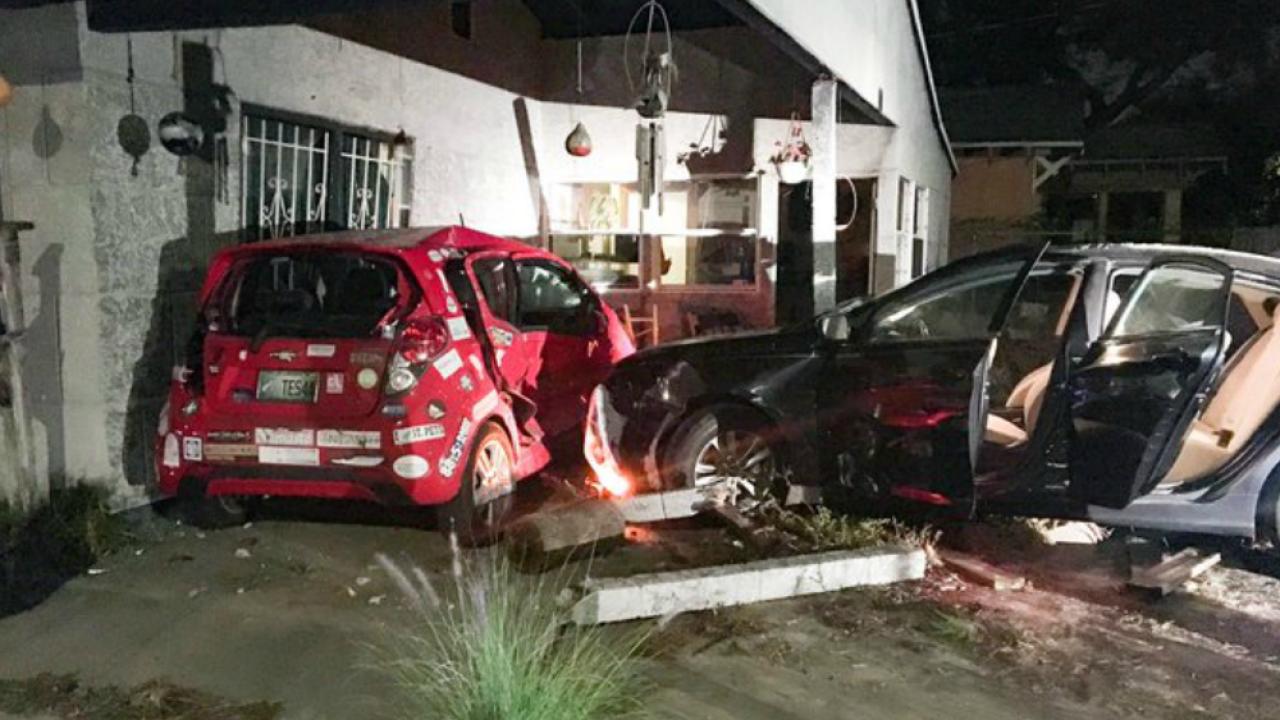 stolen car crashes into St Pete home