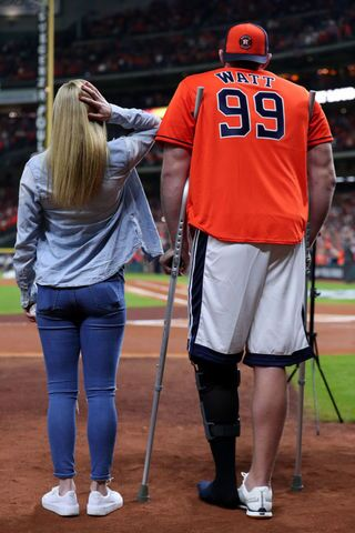 J.J. Watt Throws Out First Pitch at World Series Game 3
