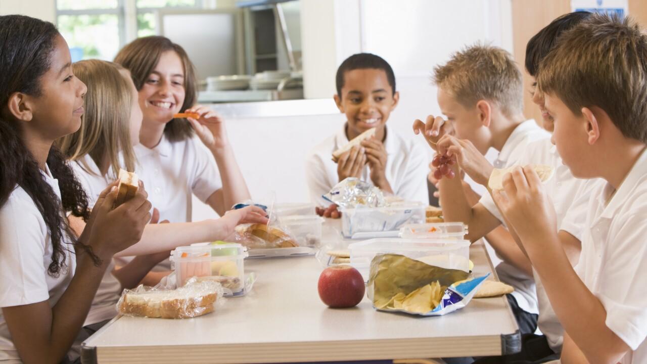Schoolchildren enjoying their lunch