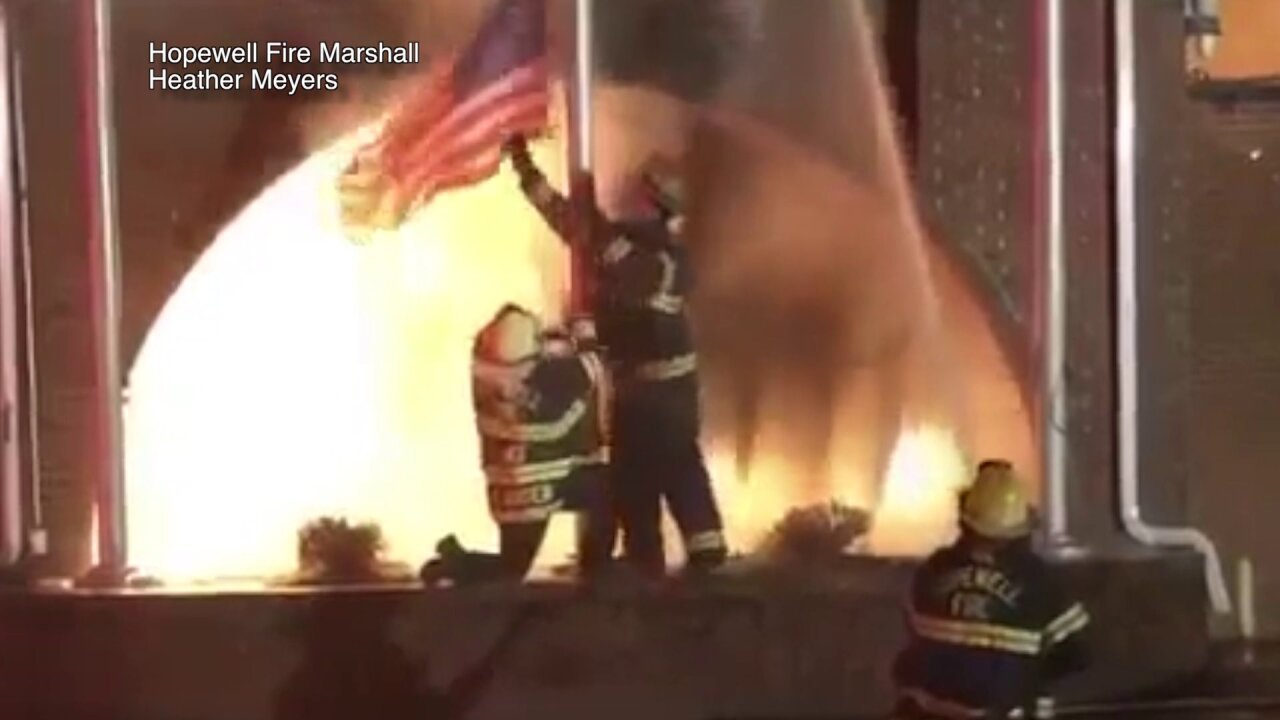 Firefighters save American flag outside burning building: 'It just felt like the right thing'