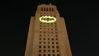The City Of Los Angeles And DC Entertainment Honors Adam West With Bat-Signal Lighting Ceremony