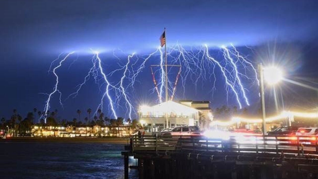 Photos show nearly 2,200 pulses of lightning off Southern California coast in 5 hours