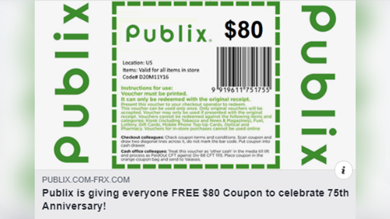 Don't fall for the fake $80 Publix coupon on social media