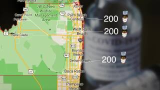 Map showing 200 COVID-19 vaccine doses going to Palm Beach Gardens, West Palm Beach, Delray Beach