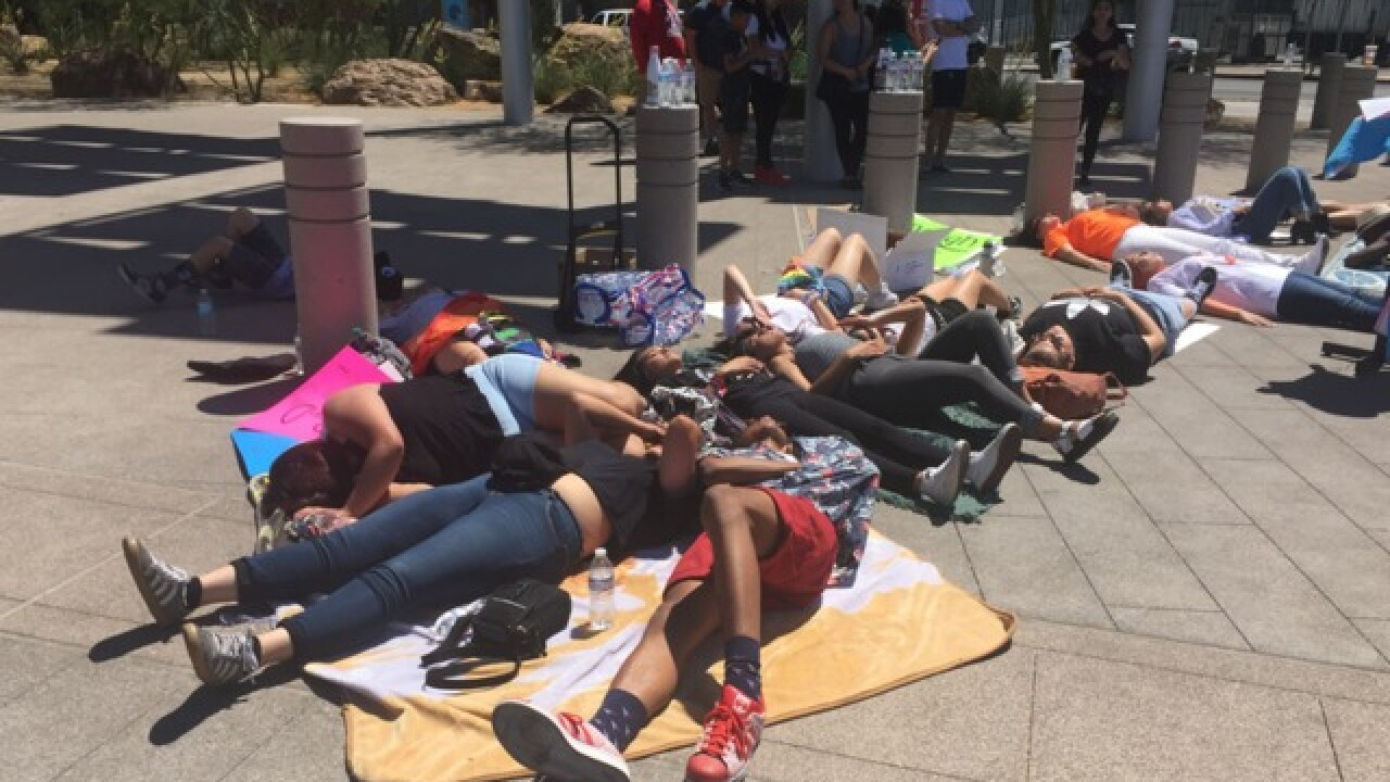 National Die-In Day protest at Vegas City Hall