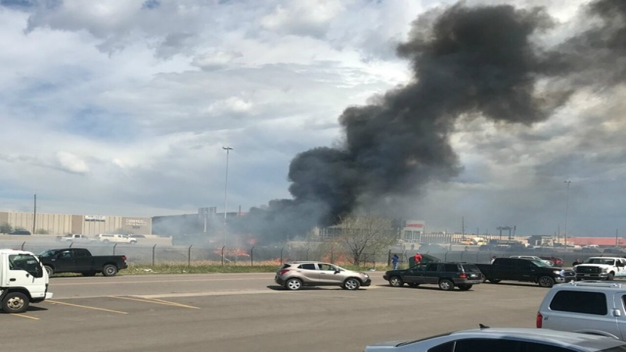 Northbound I-25 closed due to semi truck fire