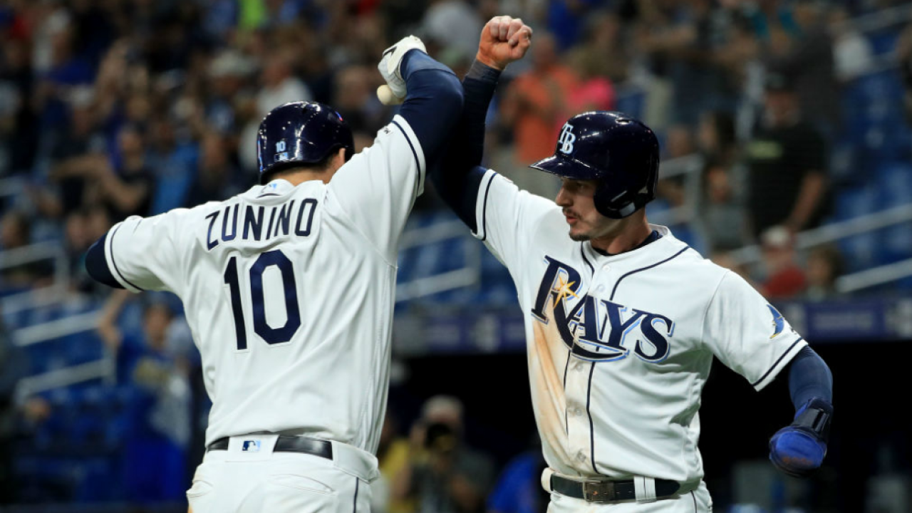 Mike Zunino celebrates 2-run home run