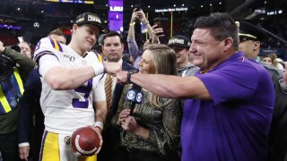 Joe Burrow Ed Orgeron AP