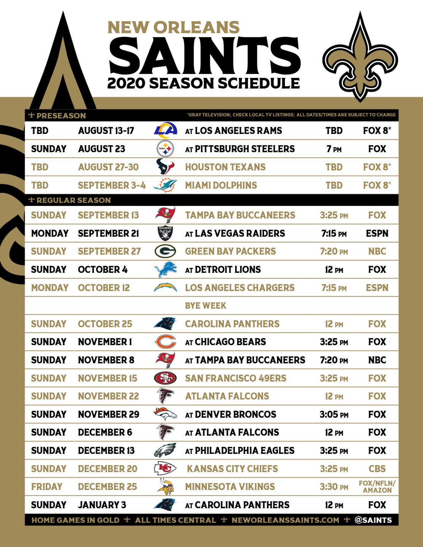 New Orleans Calendar 2022.New Orleans Saints Release Schedule For 2020 Season