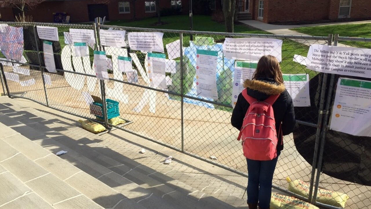 Mock border wall at Ohio college sparks trouble