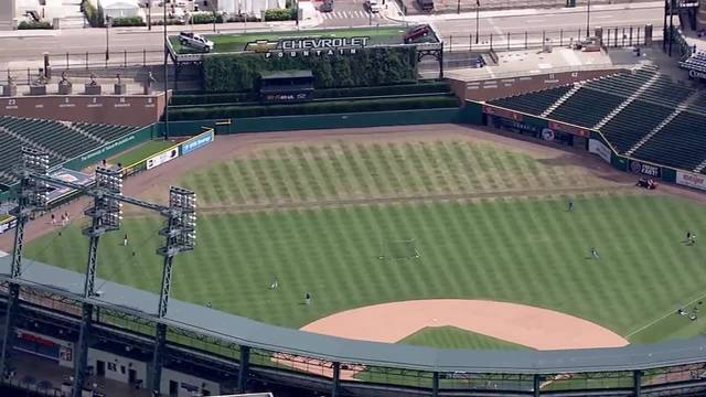Photo gallery: Comerica Park outfield damaged after Metallica concert