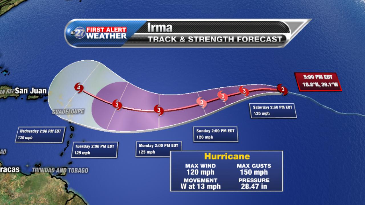 Hurricane Irma Path (9/1/2017, pm)