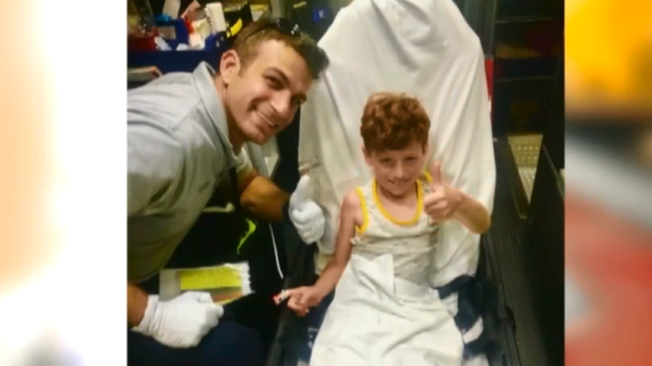 Boy on vacation visits Boca Fire Rescue heroes after severe allergic reaction