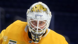 Sabres goalie Linus Ullmark shows off beautiful gold mask for team's 50th anniversary season