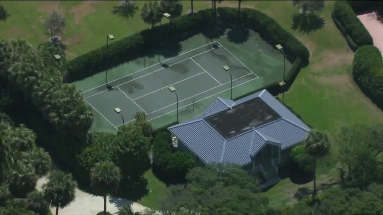 tennis court at Larry Ellison's North Palm Beach property, April 9, 2021