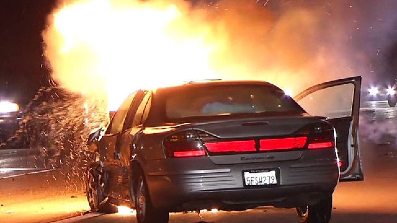 Car bursts into flames during series of crashes