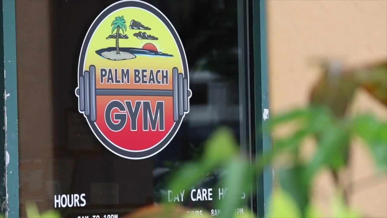 Palm Beach Gym sign on front door