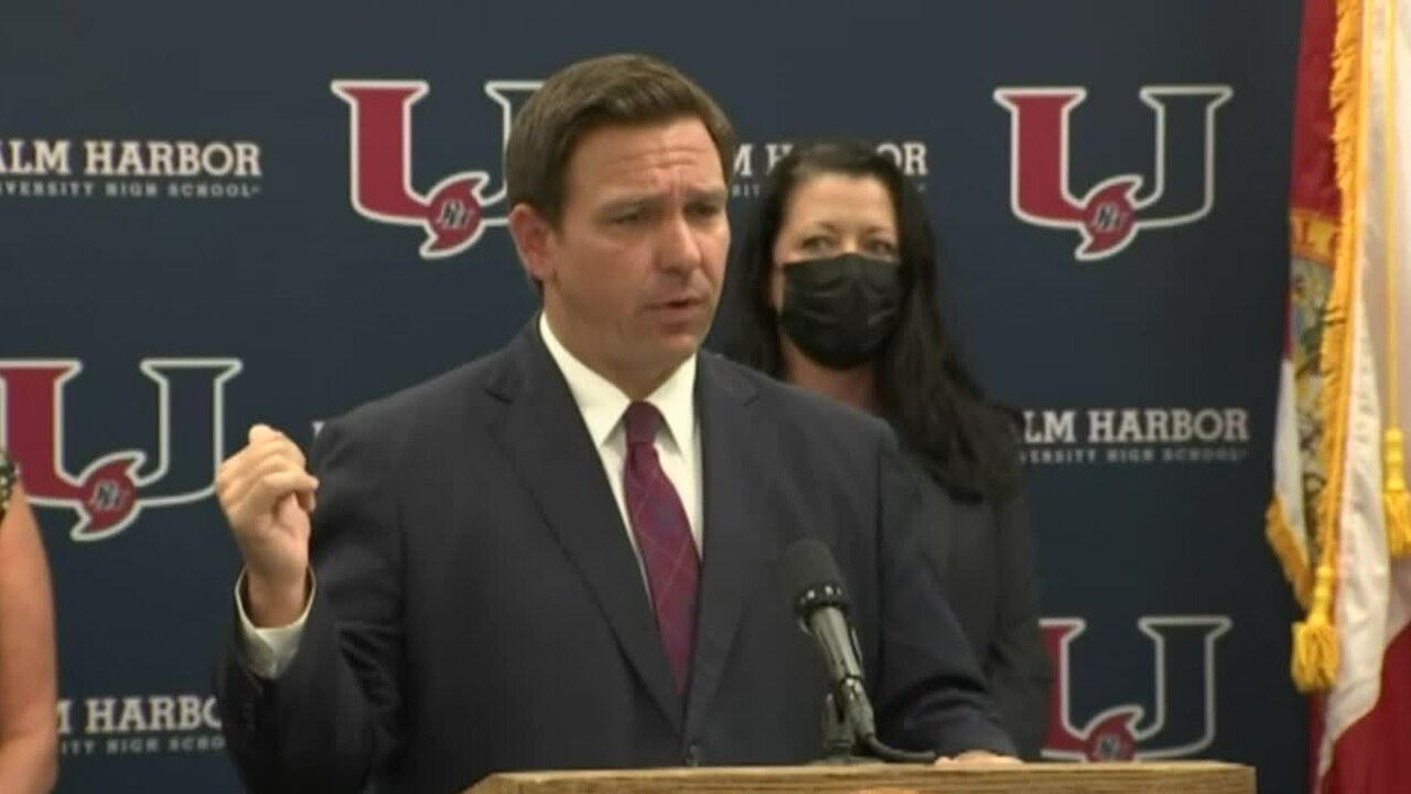 Florida Gov. Ron DeSantis holds a news conference in Palm Harbor on March 31, 2021.jpg