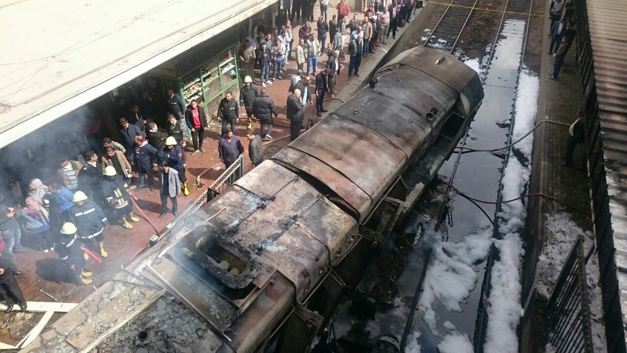 Cairo railway station fire kills 20 after train's fuel tank explodes