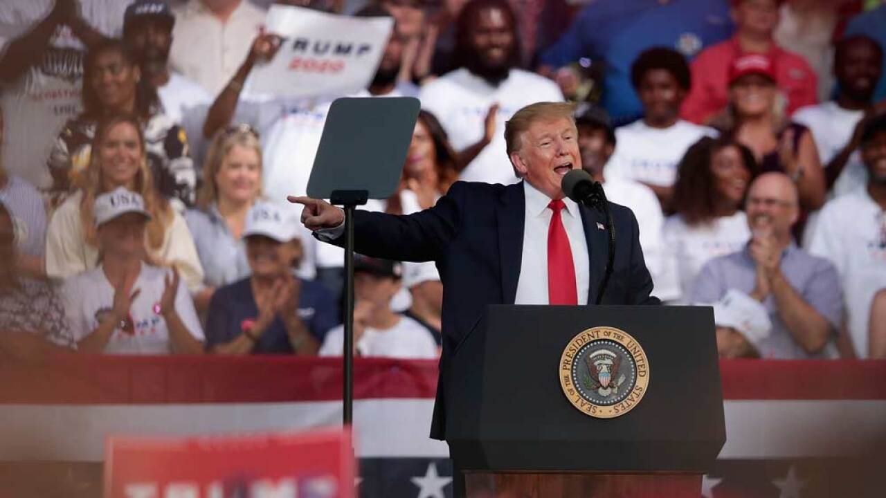 U.S. President Donald Trump speaks during a rally at the Aaron Bessant Amphitheater on May 8, 2019 in Panama City Beach, Florida. In his continuing battle with Congress over the release of Robert Mueller's unredacted report, today President Trump asserted executive privilege to block its release from public view.