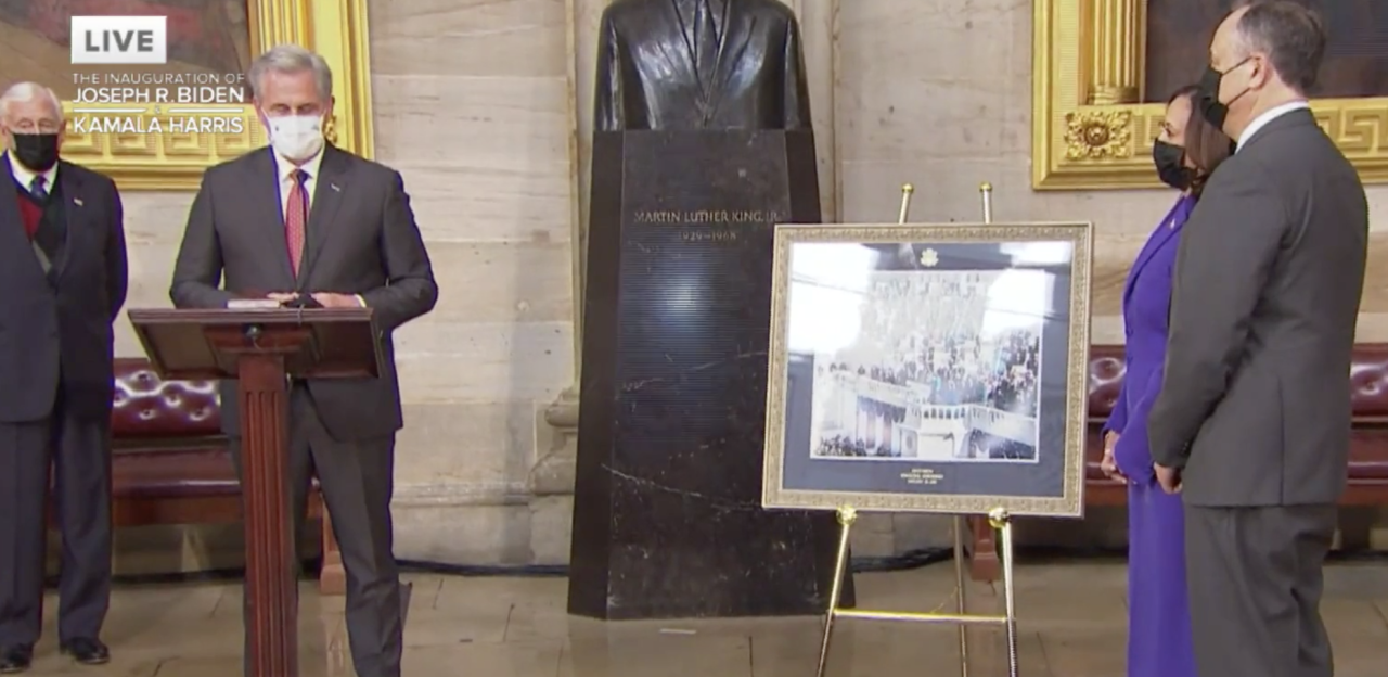 McCarthy presents VP Harris with historic photo of inauguration