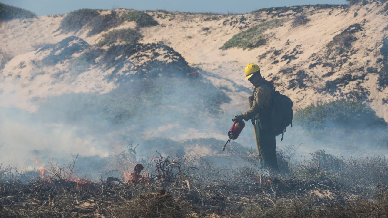 Firefighters work on a prescribed burn at Vandenberg Air Force Base mid-Sept. Photo: VAFB