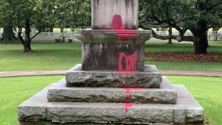 Franklin Clay Street park monument vandalism (July 9).jpg