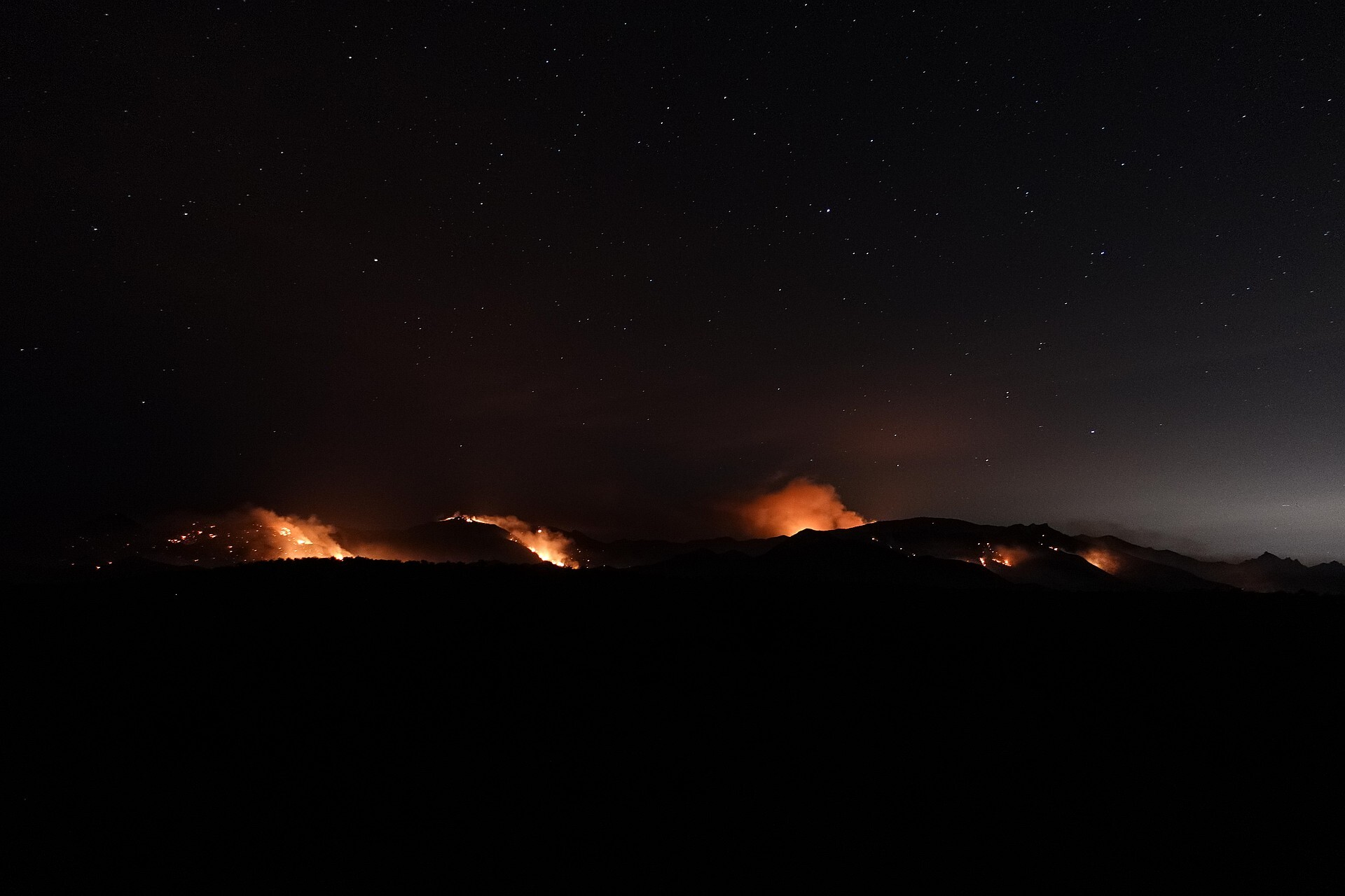 The Bighorn Fire as seen in the pre-dawn hours on June  23rd from Biosphere Road
