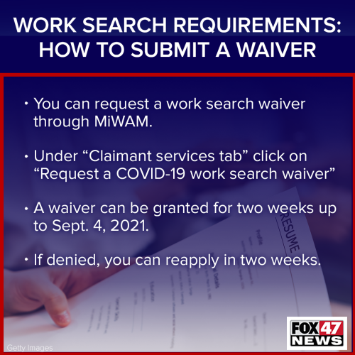 Work Search Requirement Waiver