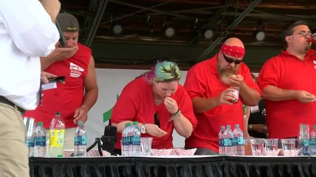 Competitive eaters take down pounds of cheese curds at Wisconsin State Fair [PHOTOS]