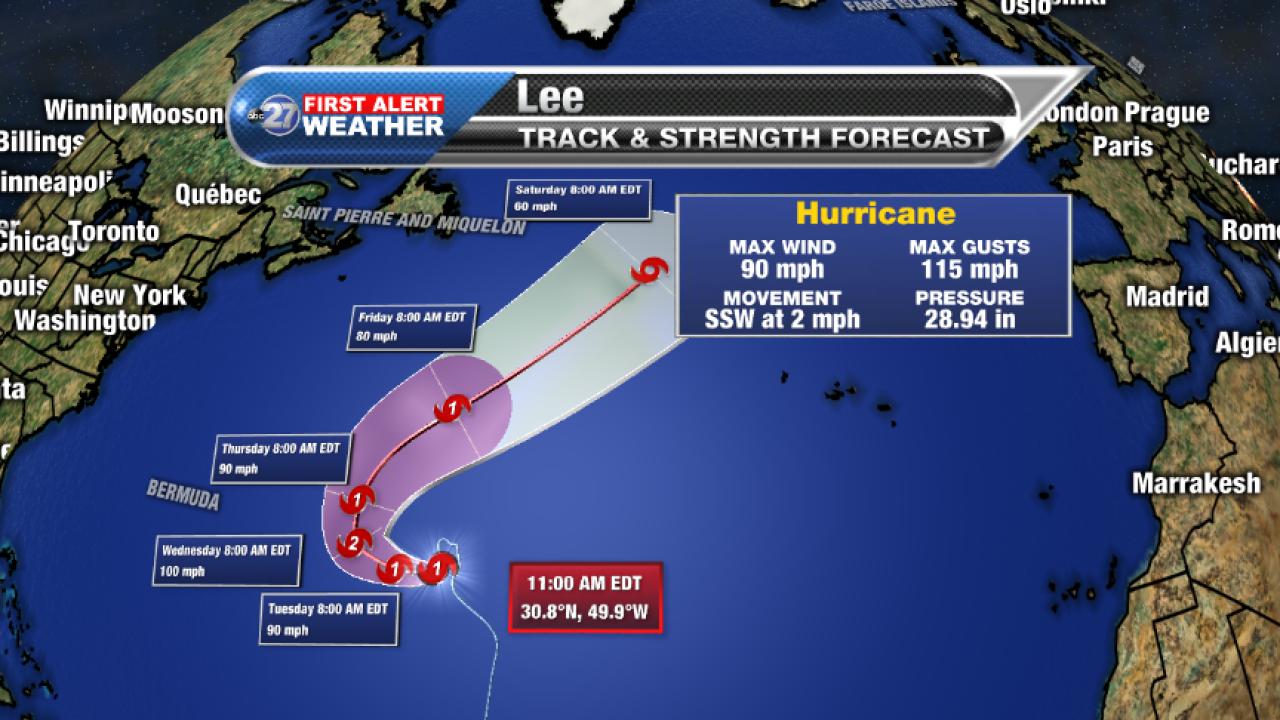 Hurricane Lee Advisory and Forecast track (11am 09/25/2017)