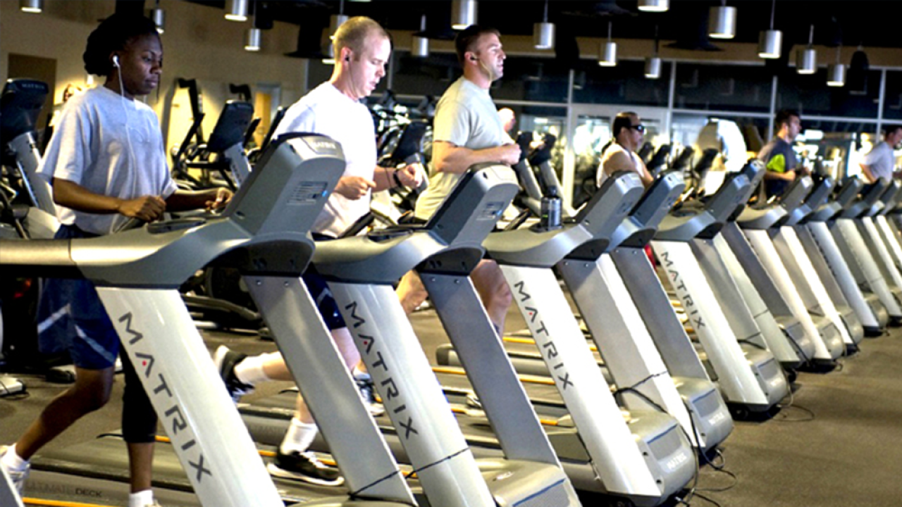people jogging on gym treadmill