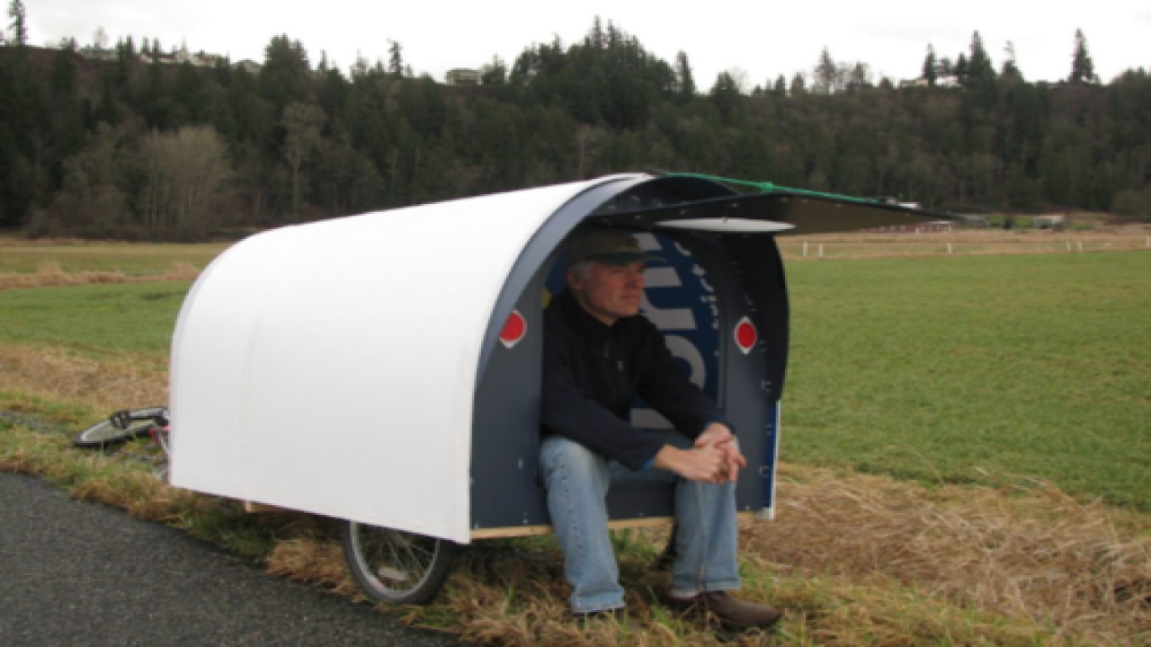 Man Built A $150 'tiny Home' He Can Tow With His Bike