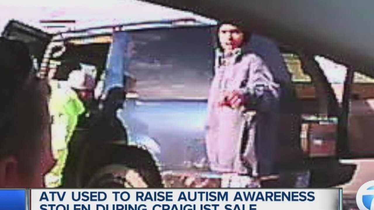 ATV for sale on Craigslist to raise money for autism stolen when