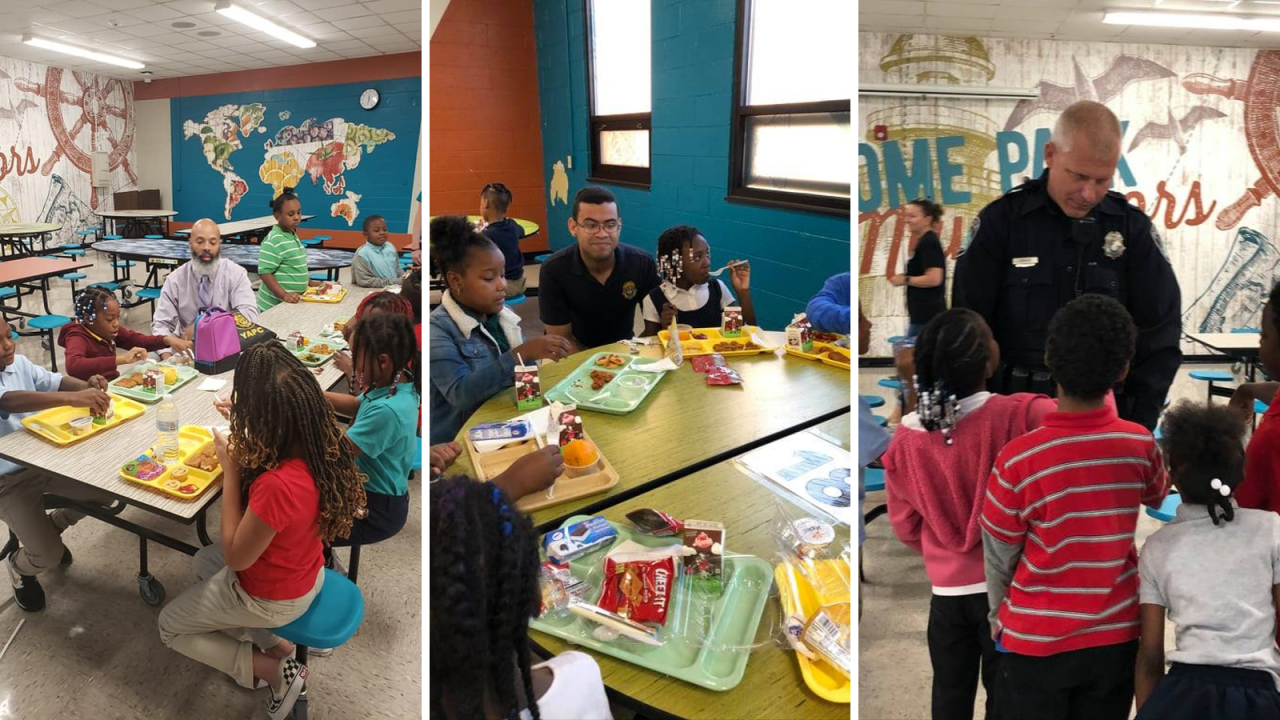 Newport News Police officers eat lunch with elementary school students during 'First Fridays' program