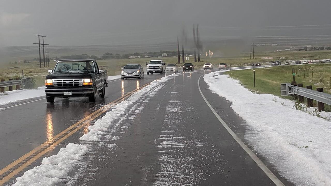 Hail on Highway 94, east of Marksheffel