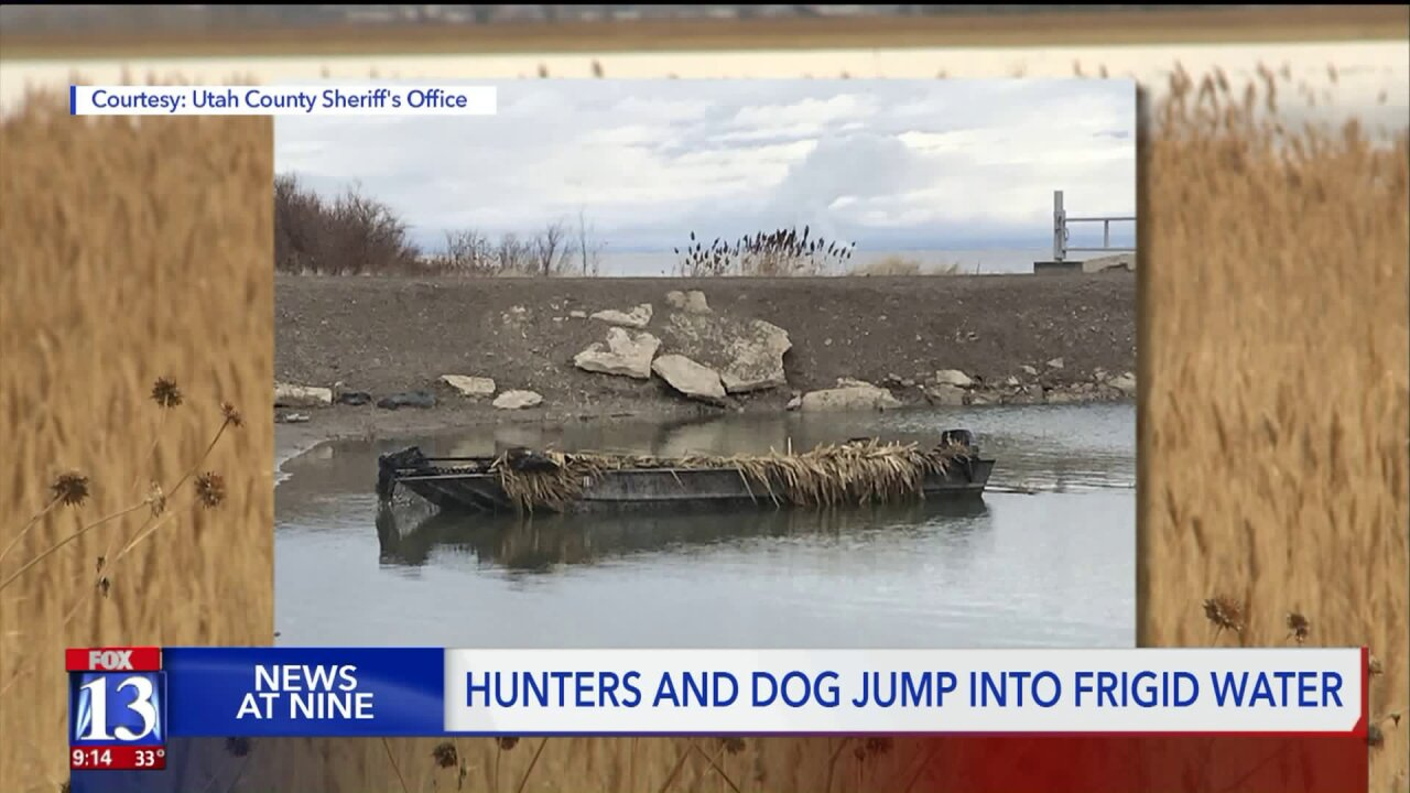 Three men and a dog survive near-freezing water and high winds on Utah Lake
