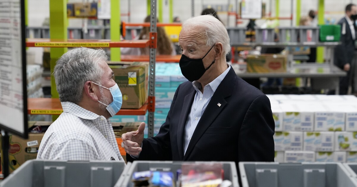 President Biden tours food bank, vaccine distribution center in Texas trip