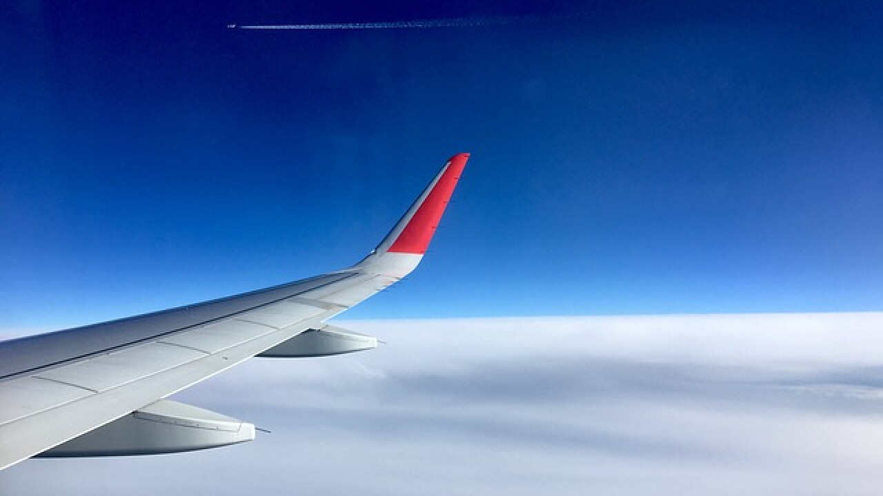 Aircraft Fly Plane Travel Wing Blue Sky Clouds