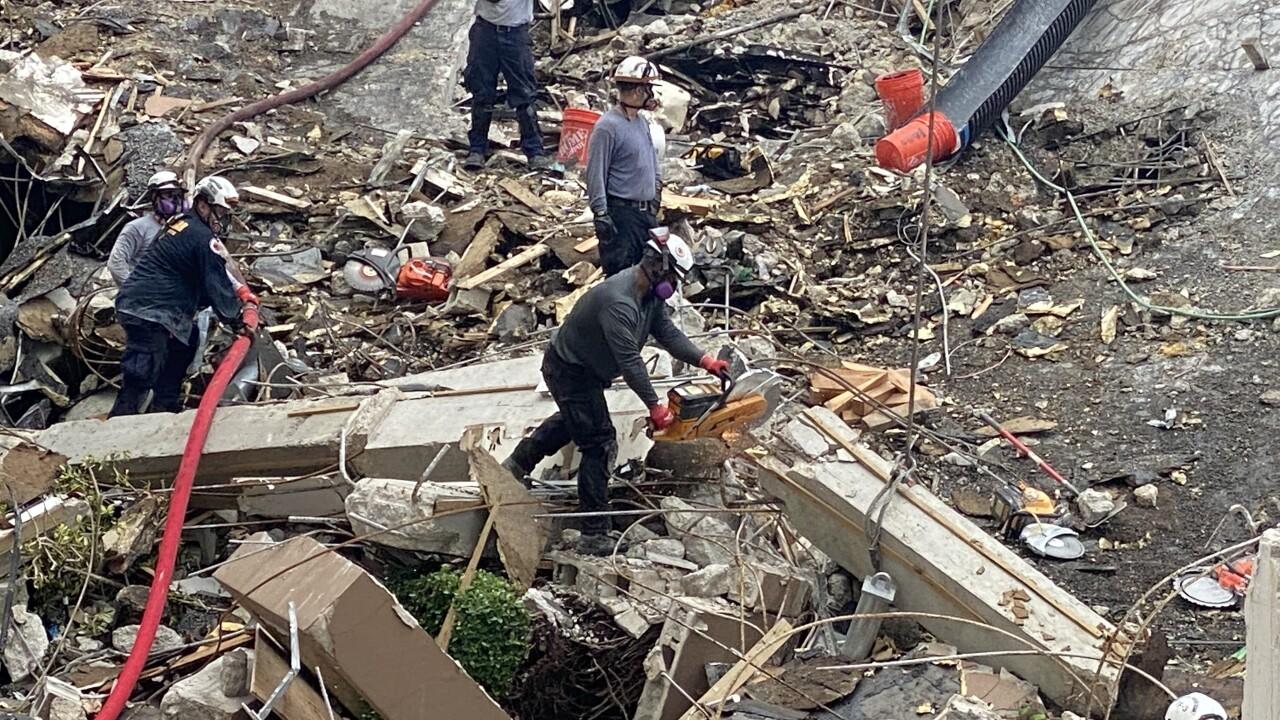 Surfside rubble