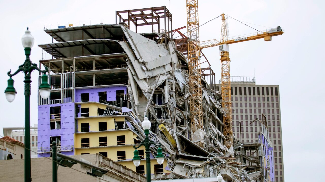 Cranes demolished at Hard Rock Hotel construction site in New Orleans