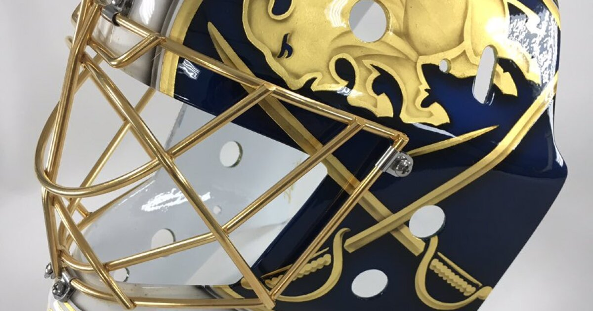 Sabres Goalie Hutton unveils new mask for 50th anniversary