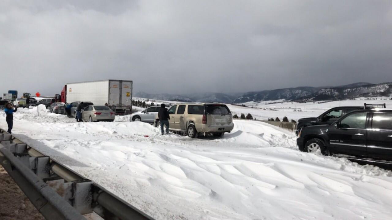 Bomb Cyclone Douglas County cars stuck on I-25