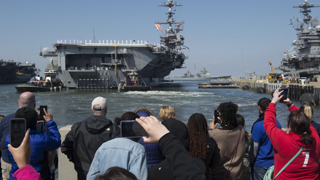 Watch: Harry S. Truman Carrier Strike Group deploys from Naval StationNorfolk