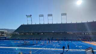 The Boise State Broncos practicing on the blue turf at Albertsons Stadium.